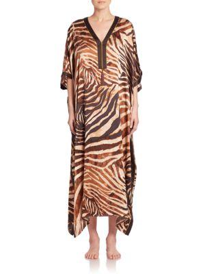 Zebra-Print Silk Caftan plus size,  plus size fashion plus size appare