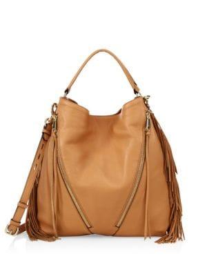 Fringe Moto Leather Hobo Bag