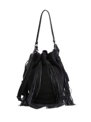 Industry Fringe Suede Bucket Bag