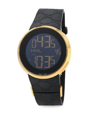 gucci male swiss made digital tm 501 leather strap watch