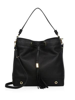 milly female 188971 astor leather drawstring hobo bag