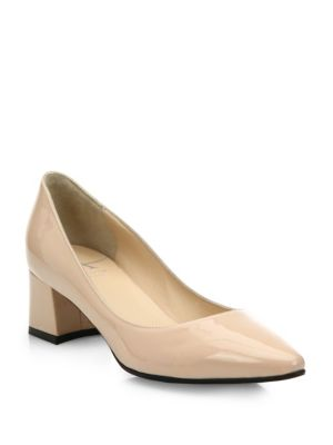 Phoebe Patent Leather Block-Heel Pumps