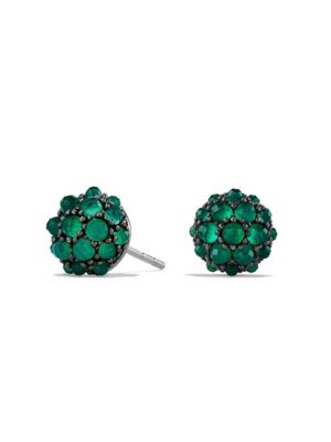 Osetra Stud Earrings with Cabochon Green Onyx