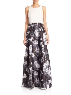 Printed A-Line Skirt Gown