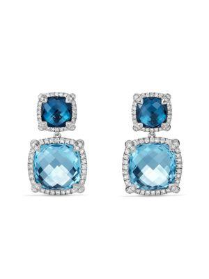 Chatelaine Pavé Bezel Double Drop Earring with Blue Topaz and Diamonds