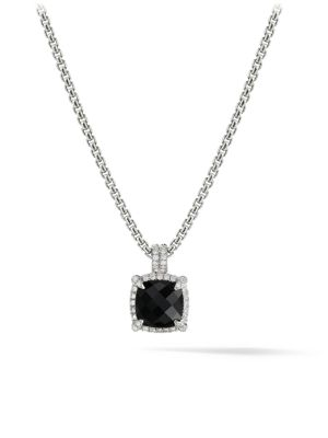 Châtelaine Pave Bezel Pendant Necklace with Gemstone and Diamonds