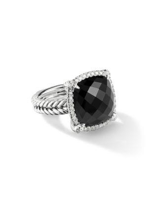Châtelaine® Pave Bezel Ring with Gemstone & Diamonds