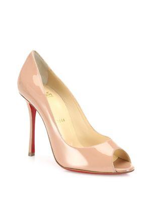 christian louboutin female yootish 100 patent leather peep toe pumps
