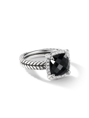 Châtelaine® Pave Bezel Ring with Gemstone & Diamonds/9mm