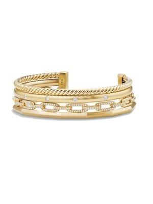 Stax Medium Cuff Bracelet with Diamonds in 18K Yellow Gold