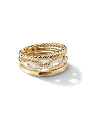 Stax Narrow Ring with Diamonds in 18K Yellow Gold