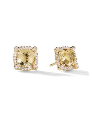 Châtelaine Pave Bezel Stud Earring with Champagne Citrine and Diamonds