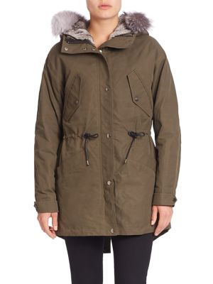 Miranda Two-In-One Fox Fur Trim Parka & Rabbit Fur Vest