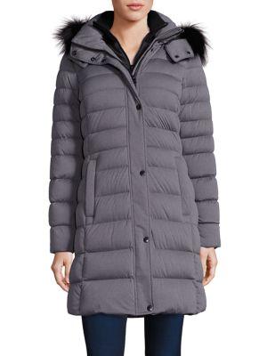 Gayle Fox Fur-Trim Down Puffer Coat