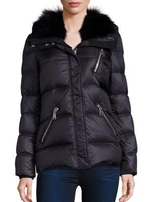 Fox Fur Collar Down Puffer Jacket