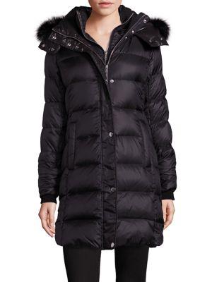 Fox Fur-Trim Down Puffer Coat