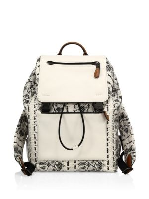 Snake Print Embossed Backpack
