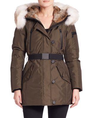 Fur-Trim Belted Down Parka