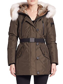Canada Goose' Women's Whistler Fur-Trim Belted Coat - Navy - Size X