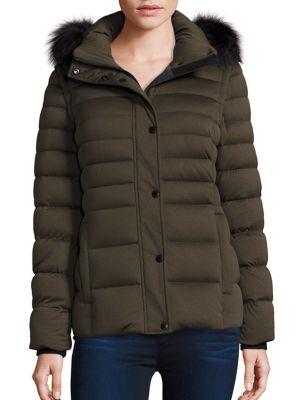 Fox Fur-Trim Convertible Down Puffer Jacket