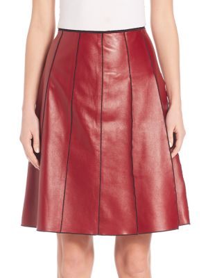 marc jacobs female 215965 seamed leather skirt