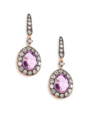 Dusty Diamonds Amethyst Drop Earrings