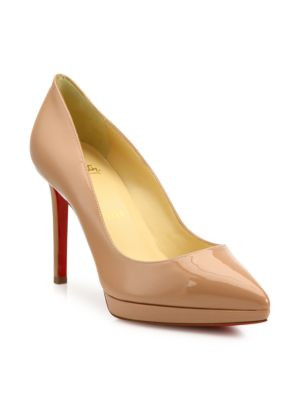 christian louboutin female pigalle plato patent leather point toe platform pumps