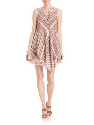 Lace-Up Layered Silk Dress