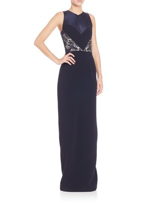 Lace and Faille Sheath Gown