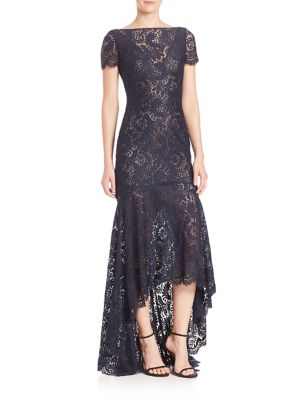 Sleeveless High-Low Lace Gown