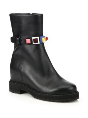 Rainbow Studded Leather Wedge Booties
