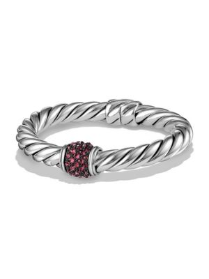 Osetra Center Station Bracelet with Pavé Rubies