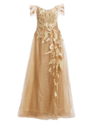 RENE RUIZ Off-the-Shoulder Embroidery Gown