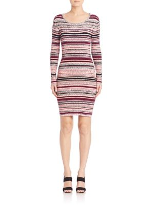 Nylon Melange Striped Rib Taryn Knit Dress
