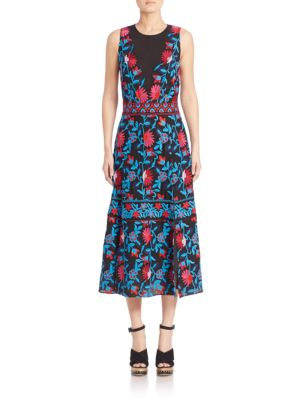 A-line Embroidered Midi Dress