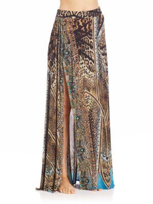 camilla female  exotic print split drape skirt