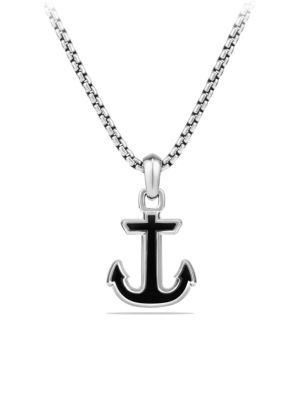 Maritime Onyx & Sterling Silver Anchor Pendant