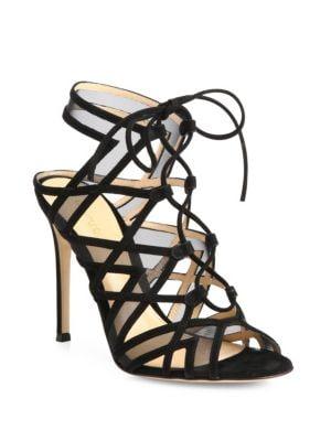 Suede & Mesh Lace-Up Cutout Sandals