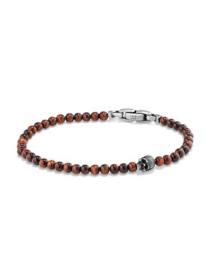 Spiritual Beads Red Tigers Eye Skull Bracelet