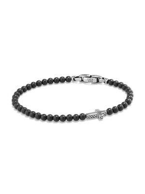 Spiritual Beads Black Onyx Cross Station Bracelet