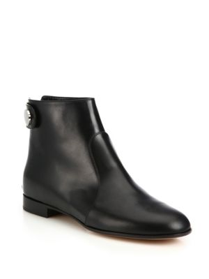 3 Stores In Stock: GIANVITO ROSSI Lindon Leather Flat Ankle Boots ...
