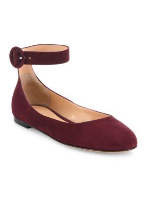 Virna Suede Ankle-Strap Ballet Flats
