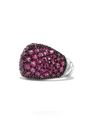 Osetra Dome Ring with Pavé Rubies