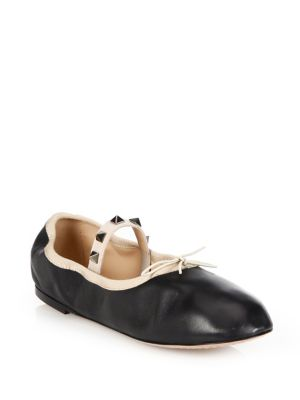 Rockstud Leather Ballet Flats