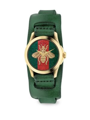 G-Timeless Embroidered Bee Goldtone Stainless Steel & Leather Watch