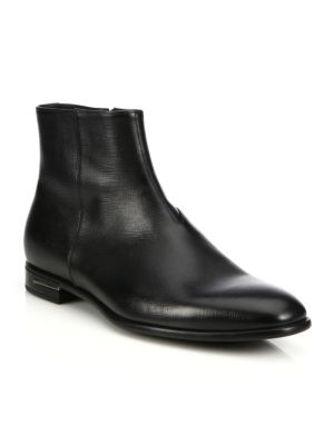 Saffiano Leather Ankle Boots