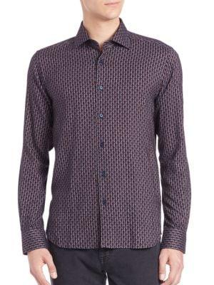 Saks Fifth Avenue Collection几何图案印花Button衬衣