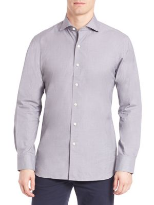Slim-Fit Houndstooth Stretch-Poplin Shirt
