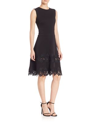 MIDNIGHT Floral Lace Fit-&-Flare Dress
