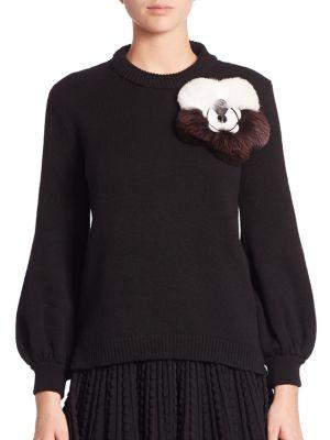 Fur Appliqué Cashmere Sweater
